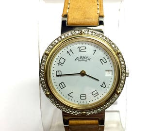 HERMÈS 18K Yellow Gold & Steel Ladies Watch w/ New Brown Band