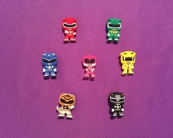 7-pc Power Rangers Shoe Charms for Crocs, Silicone Bracelet Charms, Party Favors, Jibbitz