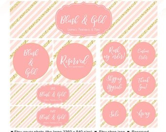Pink Etsy Shop Set - Pink and Gold Etsy Set - Etsy Branding - 11 Piece Etsy Set