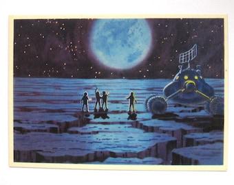 Space, Unused Postcard, First Explorations, Cosmonaut, Sokolov, Leonov, Illustration, Unsigned, Rare Soviet Vintage Postcard, USSR, 1966