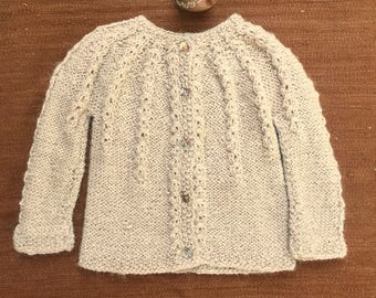 Alpaca girl sweater, Made to order, Hand knitted cardigan, cable stitch