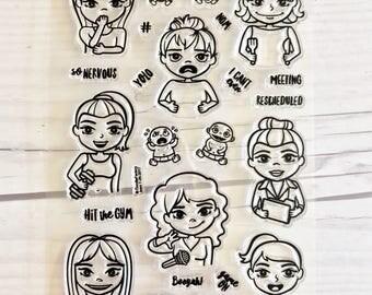 planner stamps, planner stamp sets, girl planner stamps, bullet journal stamps, planner icon stickers,  MojiGirls, starving artistamps