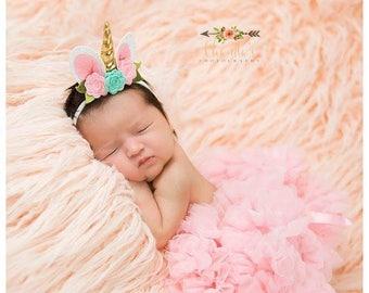 Unicorn Headband, Felt Flower Unicorn Headband, Felt Flower Crown, Mini Crown, Smash Cake, Newborn Photo Prop, Unicorn Crown, Birthday Crown
