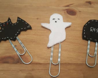 Extra Large Felt Halloween Paperclip Bookmarks. Planner bookmarks