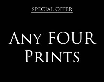 Any 4 prints special offer – Discount deal – Save – Gifts for kids – Gifts for him – Gifts for her – Offer – Wall art –Nursery art- Kids art