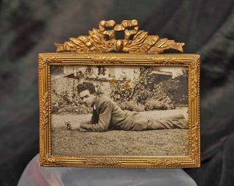 Lovely Old Miniature Vintage Brass  Photo Frame