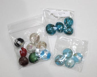 Destash Lampwork Beads, Puffed Flat Rounds, 16 beads, B365