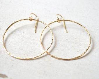 Wire hoop earrings gold and silver, Hammered hoop earrings, Simple hoop earrings, Thin wire hoops