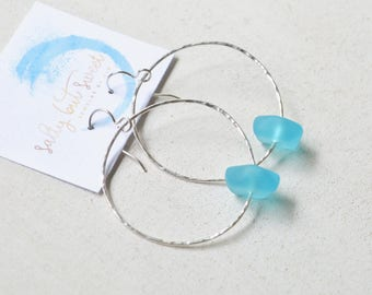Sea Glass Hoop Earrings, Aqua Sea Glass Earrings, Turquoise Sea Glass Earrings, Hammered Hoop Earrings, Beachy Earrings