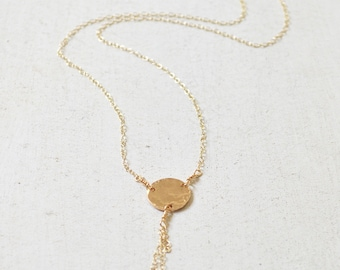 Hammered Disc Necklace, Gold Disc Necklace, Disc Chain Necklace, Gold Circle Pendant Necklace