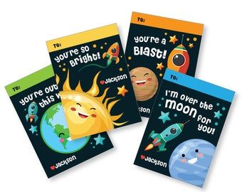 Valentines Day Space Cards, printable DIY Valentine classroom cards, custom name on Valentine, Valentine's Outer Space, Planets