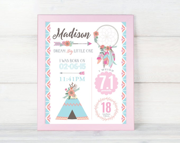Dreamcatcher Birth Stats wall art, Boho Birth Announcement personalized, baby print, print birth stats, baby keepsake, birth art