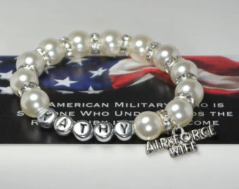 air force wife - us air force - military - deployed - united states - gift for deployment - armed forces - airman - personalized name