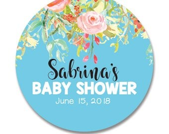 12 Round baby shower favor stickers, personalized, floral theme, its a boy