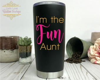 Aunt Coffee Mugs - I'm the fun Aunt - Birthday gift for Auntie - Aunt Gifts - Announce Pregnancy to Sister - Aunt Christmas - Mother's Day