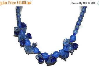 Summer Sale Blue 1930's Floral Necklace // Vintage Glass Necklace With Flowers