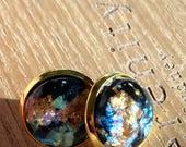 Medium Gold Mosaic Flake Studs || Choose Your Color