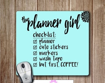 SUMMER SALE-30% OFF Planner Girl Checklist Mousepad, Happy Planner Mouse Pad, Cute Desk Accessories, Planner Accessories, Office Accessories