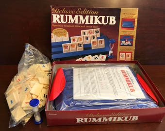 Vintage Rummikub Game, Deluxe Edition Rummikub, 1997 version with timer and carrying case, Board Game, Family Game, Original and Complete