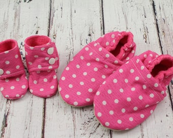 doll and girl matching shoes - doll and me slippers - toddler slippers - Easter gifts for girls - birthday gift - pink dot doll slippers