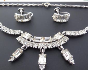 20% OFF SALE Vintage 1950s Bogoff Crystal Rhinestone Necklace and Earrings Rhodium Setting Demi Parure