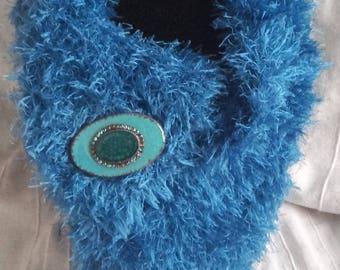 indigo blue open collar with Rhinestone brooch, creating softness