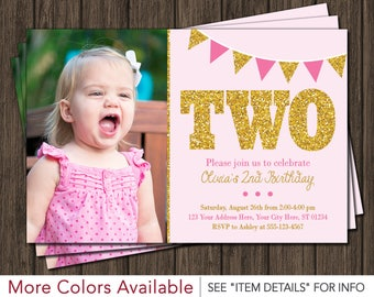 2nd birthday invite etsy pink and gold 2nd birthday invitation second birthday invitations baby pink pink stopboris Images