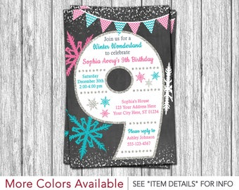 Winter Wonderland 9th Birthday Invitation | Age 9 Winter Birthday Party Invitations | Ninth Birthday Invite | Personalized and Printable