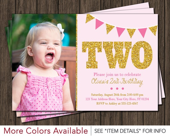 Pink and Gold 2nd Birthday Invitation Second Birthday