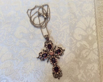 "Purple Pink Crystal Cross Pendant Necklace ~ Gold-plate ~ 24"" Chain"