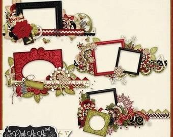 On Sale 50% Christmas, Holiday, Season, Comfort And Joy 4 Cluster Frame Borders Digital Scrapbook Kit, Scrapbooking