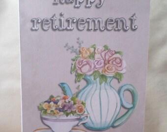 Double card 'Happy Retirement' handmade 21cm x 15cm