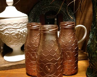 Set of 3 Rose Gold Painted Honeycomb Rooster Decorative Glass Bottles - Farmhouse Decor