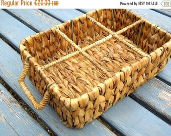 SALE Basket drinking glasses carrier, marmalade jar holder, wicker, french vintage, bottle, preserve six glasses glass carrier wine apero tu