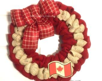 Canada Day Wreath, Canadian Patriotic Wreath, Canadian Flag, Canadian Patriotic Decor