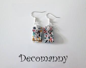 Boucles d'oreilles tissus liberty étoiles multicolores et breloques étoiles