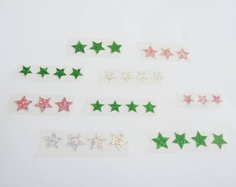 Set of 32 heat-sealed motifs: stars for textiles