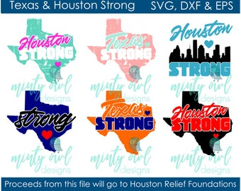 SVG DXF & EPS Cut/Printable File - Texas Houston Strong - Hurricane Harvey - Texan Proud - #TexasStrong #HoustonStrong - Cricut Silhouette