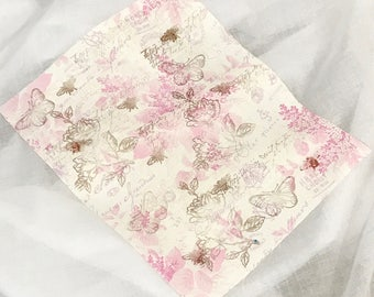 French Fabric Floral Pink Roses and Script Remnant with or without Stamping. Craft fabric idea from Australia