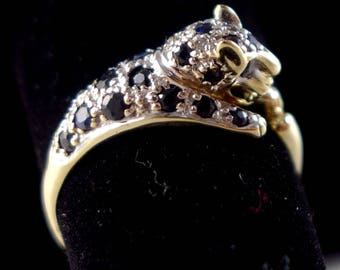 Vintage 9k Solid Gold Sapphire & Diamond Cheetah Ring Cartier Inspired