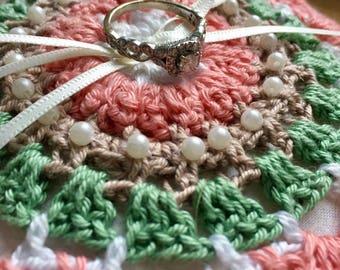 Crochet ring bearer cushion
