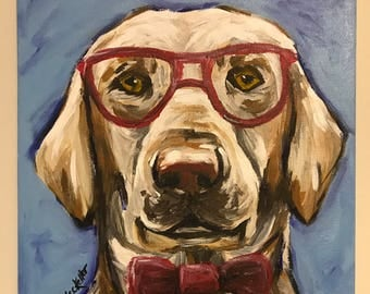 Cute Lab with Glasses and Bowtie art. Yellow Lab Painting. Original Labrador Retriever Art, Labrador Retriever on stretched Canvas.