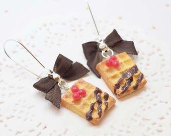 chocolate waffles earrings