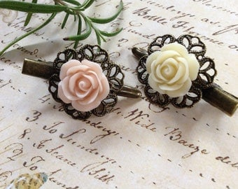 Pink And Ivory Rose Hair Clips