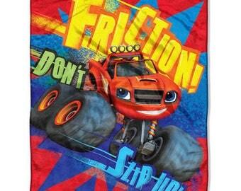 "Blaze TRUCK Blazing Speed Monster Machine Plush Blanket 46"" x 60"" Personalized Kids Blanket"