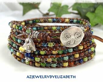 Multi-color Bracelet - Seed Bead Wrap Bracelet - Beaded Leather Wrap - Leather Bracelet - Gifts For Her - Boho Seed Bead Bracelet.