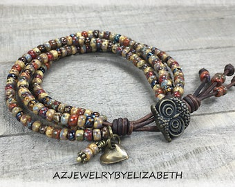 Boho  Seed Bead Leather Wrap Bracelet/ Owl Bracelet/ Multi-color Bracelet/ Leather Bracelet/ Beaded Wrap Bracelet/ Boho Wrap Bracelet.