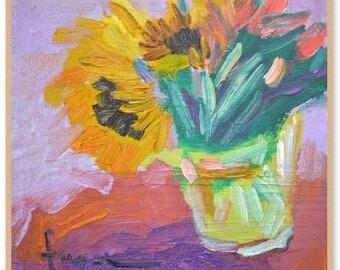 """Great Big Sunflower Hugs, Framed Art Print Sunflowers, 10""""x10"""""""