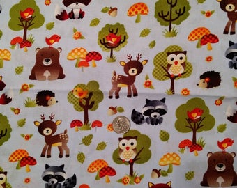 Cute Forest Baby Animals Fabric