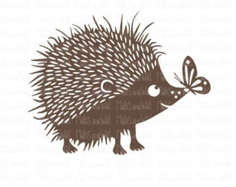 Hedgehog svg/png/dxf cricut/silhouette digital cutting file/hedgehog with butterfly svg/animal svg/woodland svg/butterfly svg/hedgehog/HTV